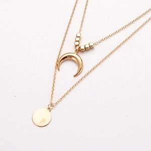 |last 2|NEW Crescent Moon Coin Layered Necklace